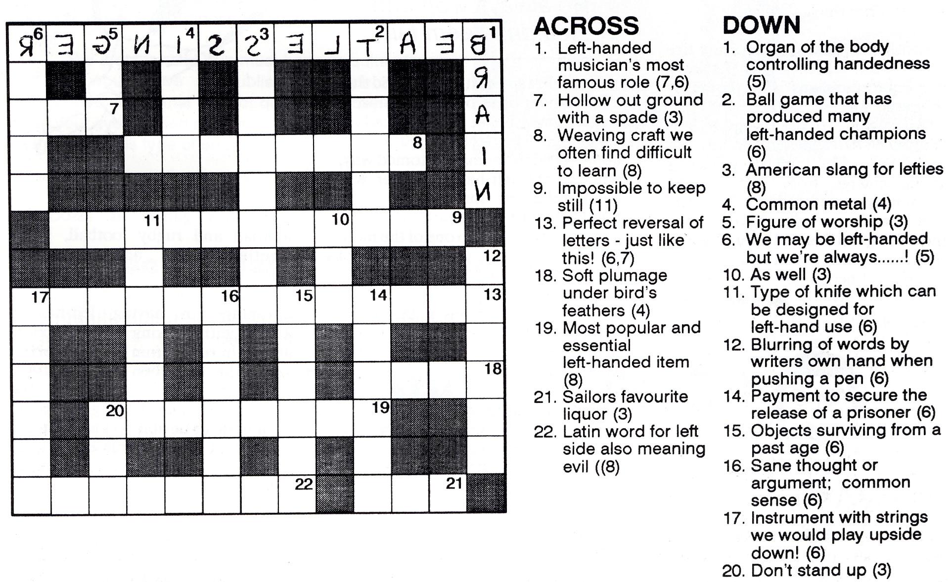 Left handed crossword anything left handed left handed crossword solutioingenieria Image collections