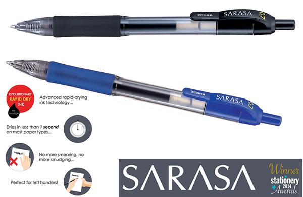 Zebra Sarasa non-smudge pens