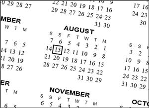 Backwards calendar 2016 for lefthanders