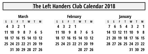Backwards calendar for lefthanders Monday first
